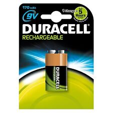 DURACELL RECHARGEABLE MN1604 9V BLOCK BATTERIES BATTERY 170mAh