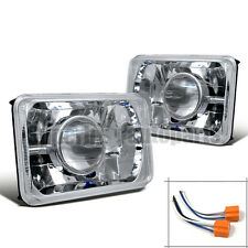"4"" x 6"" Chrome Diamond Cut Projector Headlights Conversion Kit + H4 Bulbs"