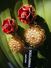 *DOLCE & GABBANA* Clip-On ROSES Floral Earrings-  Italy