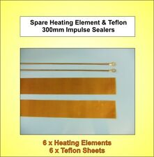 6x Brand New - 300mm Spare Heating Elements & Teflon Strips for Impulse Sealers