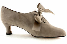 Taupe Beige Suede Evan Picone Sz US8.5/UK6.5/EUR39 Ribbon Tie Oxfords Louis Heel