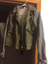 Roxy Jacket Grey Green Military Style Hoodie Medium
