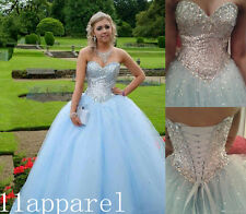 Princess Sky Blue Quinceanera Dresses Crystal Beaded Cheap Ball Gown Prom Dress