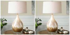 """TWO 31"""" METALLIC RUST BEIGE GLAZE TABLE LAMP LINEN SHADE CRYSTAL ACCENTS LIGHT"""