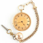 Vintage 1880s 18k Yellow Gold Open Face Hand Engraved Pocket Watch W/ Key Winder