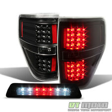 Black 2009-2014 Ford F150 LED Tail Lights +LED 3rd Brake Lamp Cargo Lamp 09-14