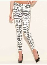 Guess Brittney Ankle Skinny Zebra Print Mid Rise Jeans Size 32