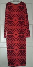 * SELECT* 14 (UK), MID  CORAL PRINTED SLEEVED DRESS, TUBE FITTED , MID LENGTH
