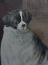 Antique Signed 1913 Oil Painting Of A Dog Rare .