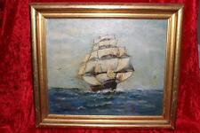 "Antique Signed Oil Painting On Canvas ""Flying Cloud"" Clipper Ship"