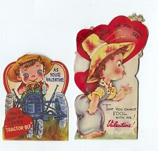 2 Fun 1940's-50's USA Farmer on Tractor & Farm Girl in straw hat Valentines