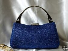 DAZZLING BLUE W. RHINESTONES BROCADE EVENING PURSE/CLUTCH/WEDDING BAG