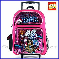 "Monster High  16""  Girl Large Rolling School Backpack  Book Bag"
