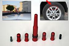 Antena KIA Serie Rojo con 4 cubiertas de válvula del neumático (Compatible para AM/FM radio)