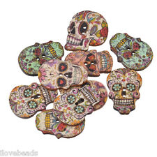 50x 2-hole Wooden Buttons Craft Skull Skeleton Scrapbooking & Sewing DIY