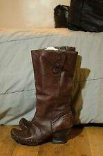 Clarks Indigo Womens Vintage Brown Leather Knee High Tall Boots Sz 9