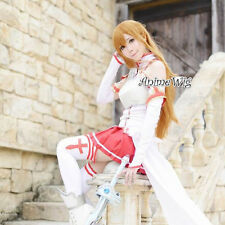 Sword Art Online Asuna Yuuki Long Light Brown Wavy Hair Women Anime Cosplay Wig