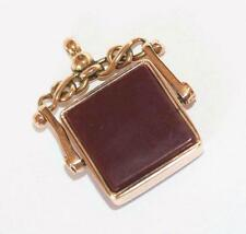 Antique 9k Gold Moving Spinner Carnelian Fob Pendant Charm c1898 Genuine