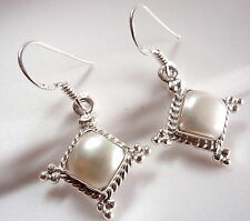 Pearl Earrings Dangle 925 Sterling Silver Rope Style Accents Square