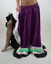 Satin Designer Flamenco Slit Skirt Belly Dance Gypsy Tribal Ruffle Costume Jupe