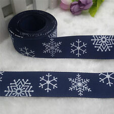 5 Yards 1'' 25mm Navy Blue Christmas Snowflake Printed Grosgrain Ribbon Hair Bow