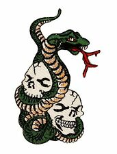 Skull & Snake Embroidered Iron On Biker Patch Applique