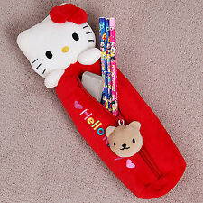 Sanrio Hello Kitty Pencil Case Bag Zippered Cosmetic Doll Pouch - RED