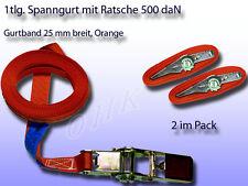 2er Pack 1tlg. Spanngurt, Zurrgurt mit Ratsche Orange 25 mm 500 daN L= 4 m