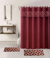 1 SHOWER CURTAIN FABRIC HOOKS  BATHROOM SET BATH MATS BURGUNDY GEOMETRIC