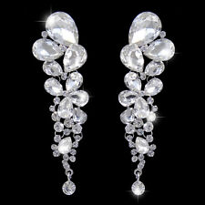 Bridal Drop Flower Dangle Earrings Clear Swarovski Crystal Silver GP E101