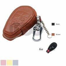 Genuine Cow Leather Zipper Bag fit for CHRYSLER DODGE JEEP Smart Remote Key BR