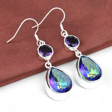 Teardrop Shaped Rainbow Mystic Topaz + Purple Amethyst  Gemstone Silver Earrings