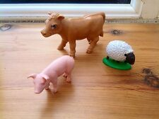 Farm Animals - Britains Cow And Sheep & Schleich Pig Farm Animals Bundle
