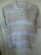 Quicksilver Polo Shirt Medium Cotton Beige Striped