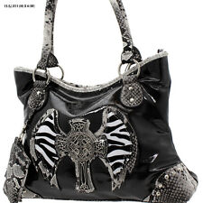 1302 BLACK CROSS WINGS RHINESTONE WESTERN PURSE CONCEALED CARRY WEAPON HANDBAG