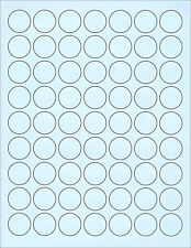 "6 SHEETS 1"" ROUND CIRCLE BLANK BLUE STICKERS 378 LABELS"