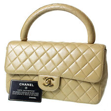 CHANEL Quilted Matorasse Hand Bag Beige Leather France Vintage Authentic #3474