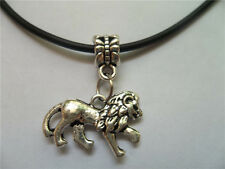 new 1PCS charm silver alloy pendant genuine leather cord lion necklace