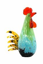 "New 10"" Hand Blown Art Glass Rooster Chicken Bird Figurine Sculpture Multicolor"