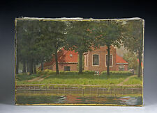 Gemälde J.H. Eversen Holland 1970 Sommerliche Gracht in Holland Niederlande