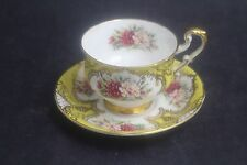 Vintage PARAGON English Bone China Yellow Border Carnation Teacup & Saucer Set