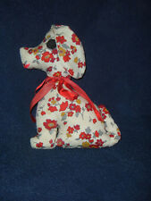 STUFFED  SNOOPY LIKE  DOG TOY RED YELLOW  FLORAL PATTERN  ON COTTON  CLOTH