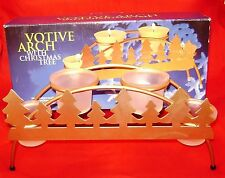 Votive Arch Candle Holder Gold Arch Iron Rack  Frosted Glass Trees NIB
