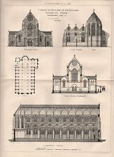 1881 ANTIQUE ARCHITECTURAL PRINT- CHURCH OF OUR LADY OF THE ROSARY, HAVERSTOCK H