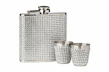 SILVER DIAMANTE HIP FLASK AND 2 CUPS STAINLESS STEEL 6oz CAPACITY  LADIES