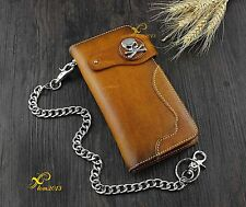 Skull Concho Motorcyle Trucker Rock Men Leather Wallet With Chain