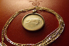 "CANADA LYNX SILVER Quarter COIN Pendant on 30"" 925 Sterling Silver Chain,  26mm"