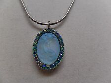 KIRKS FOLLY LORELEI DIVA MERMAID NECKLACE ST/ BLUE ZIRCON CRYSTAL-NEW!
