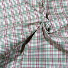 "Italian Suiting Cotton, Yarn Dyed Plaid, Red, Ivory, Green, Scant Yard, 60""W"