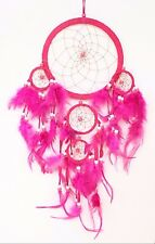 New Fuchsia Pink Dream Catcher Handmade w/Leather & Feather Car Wall Decor